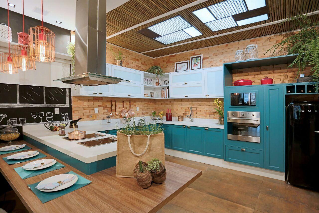 Cozinha R Stica De Tijolinho Com Detalhes Turquesa De Ana Cano
