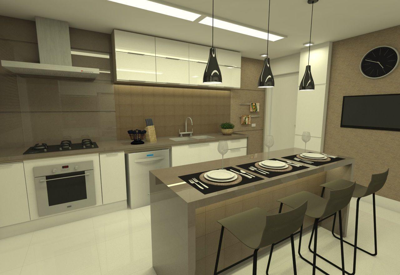 Fotos De Cozinha Com Ilha Cozinha Clean Com Ilha Integrada Mesa De