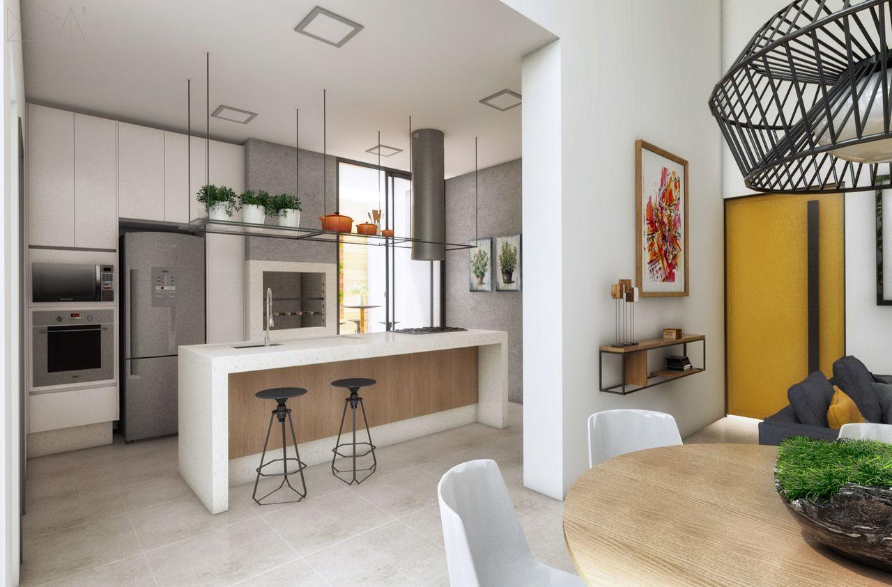 Cozinha Planejada Com Ilha E Churrasqueira De Ub Arquitetura