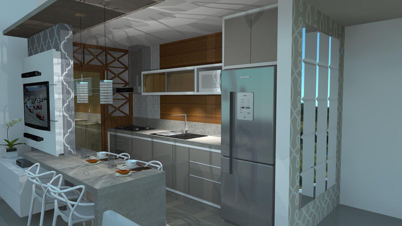 Cozinha Gourmet Moderna Com Painel De Tv De Susete De Lima 137240