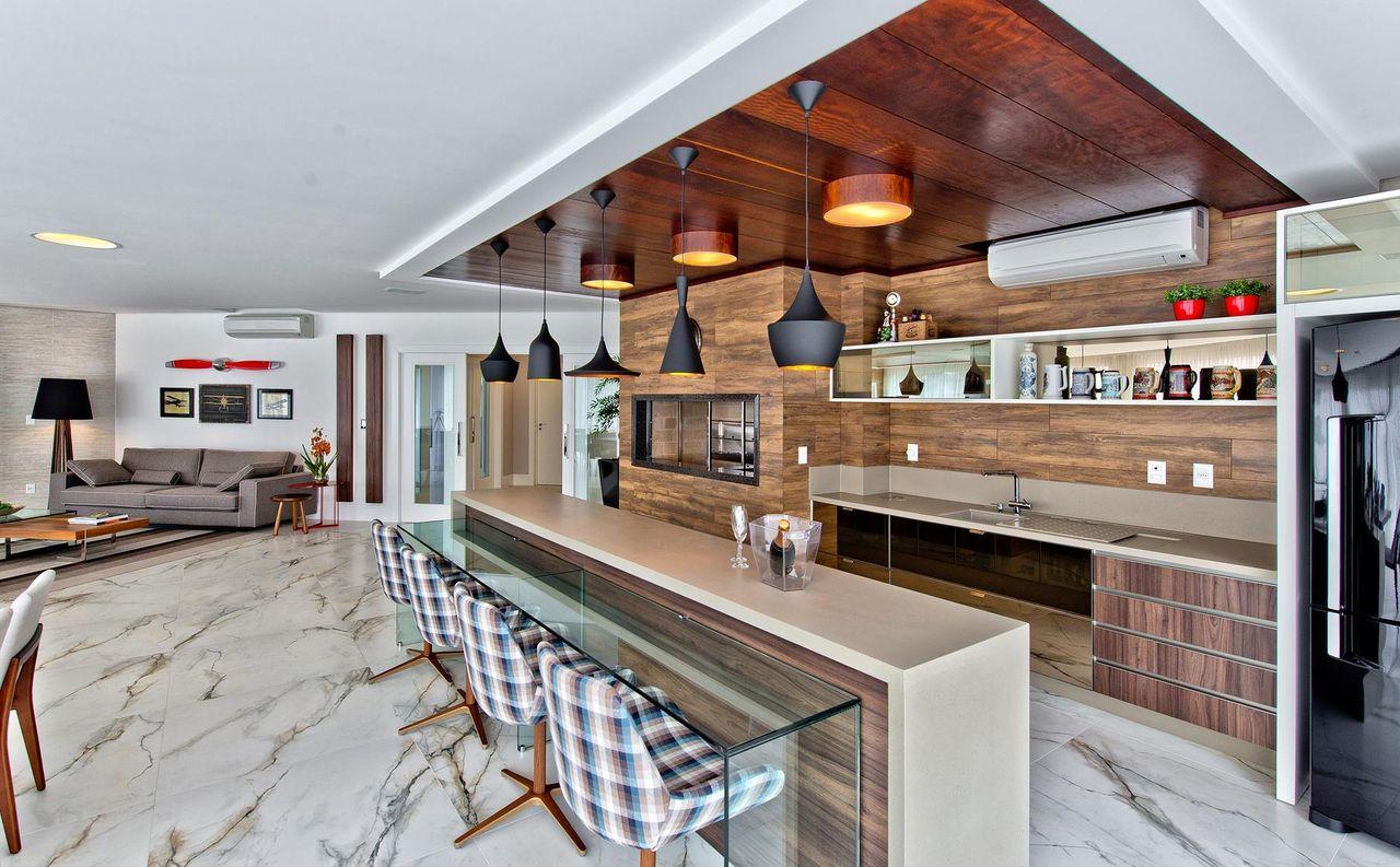Espa O Gourmet Com Bancada De Vidro De Espa O Do Tra O Arquitetura