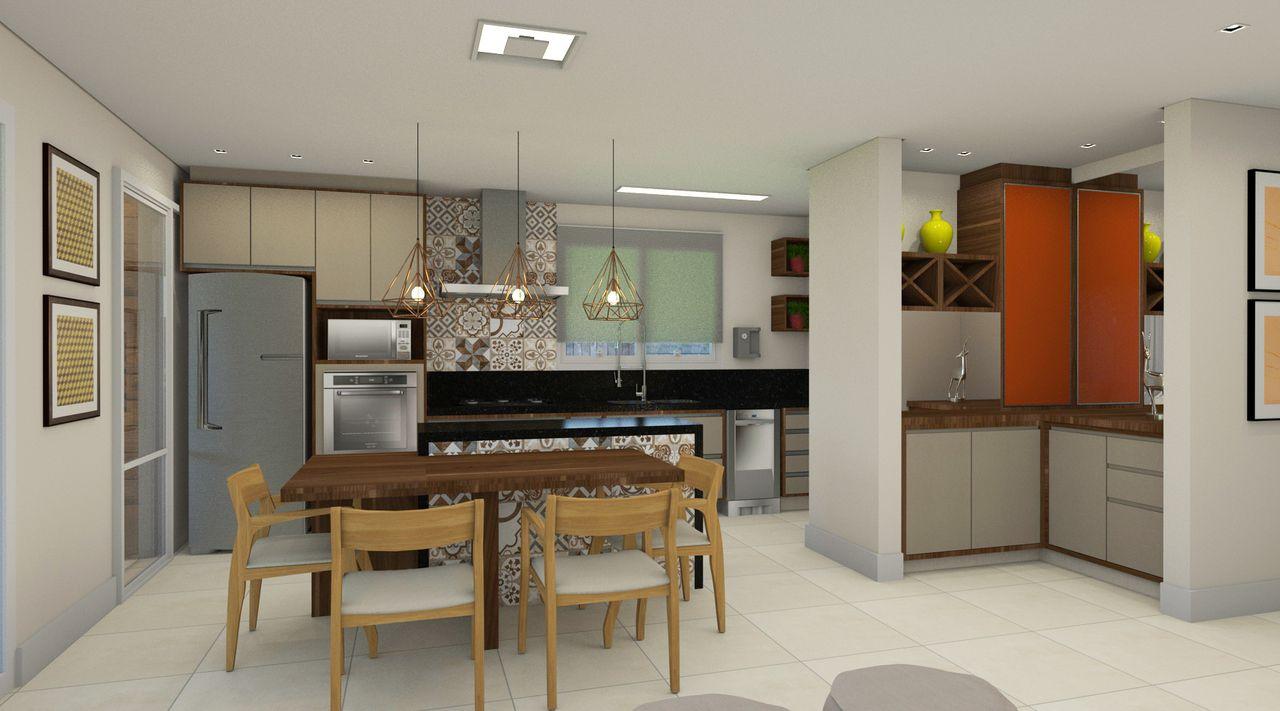 Cozinha Integrada Com Espao Gourmet Decorao De Cozinha Integrada