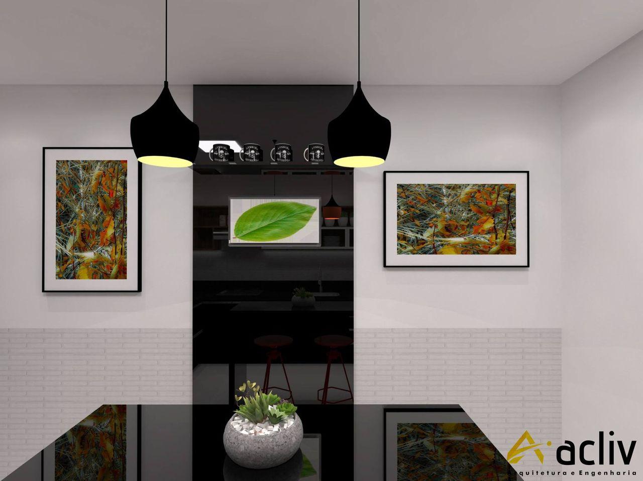Pendentes Preto E Quadros Abstratos De Acliv Arquitetura E