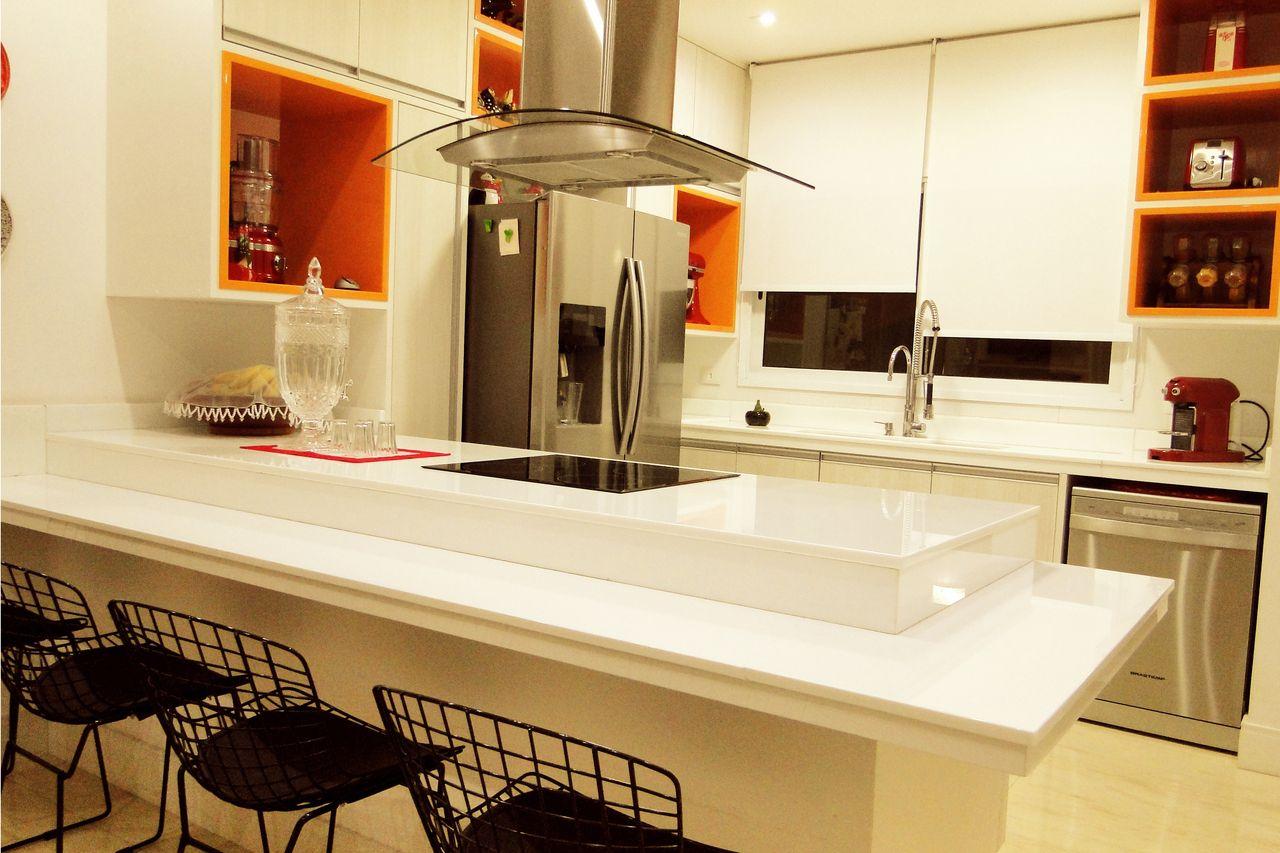 Cozinha Ilha Laranja E Branca De Ar Arquitetura L Interiores