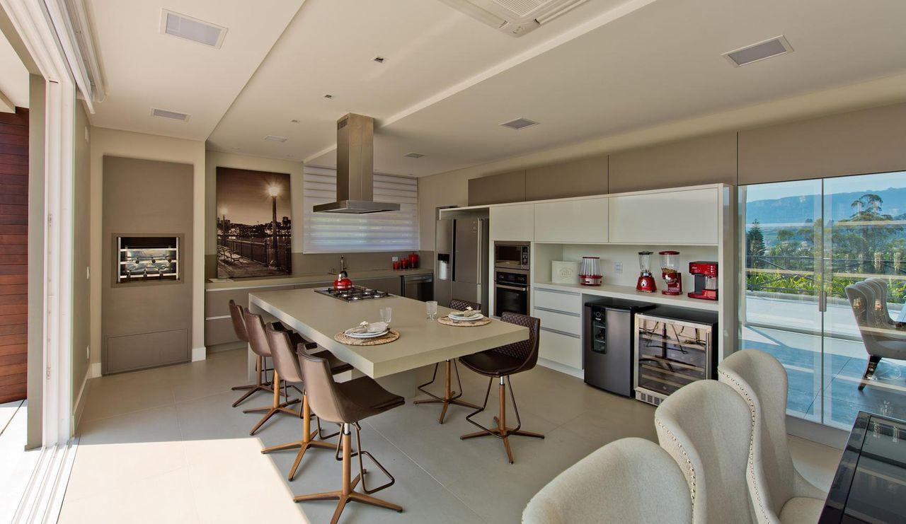 Varanda Gourmet Com Cadeira Marrom De Espa O Do Tra O Arquitetura