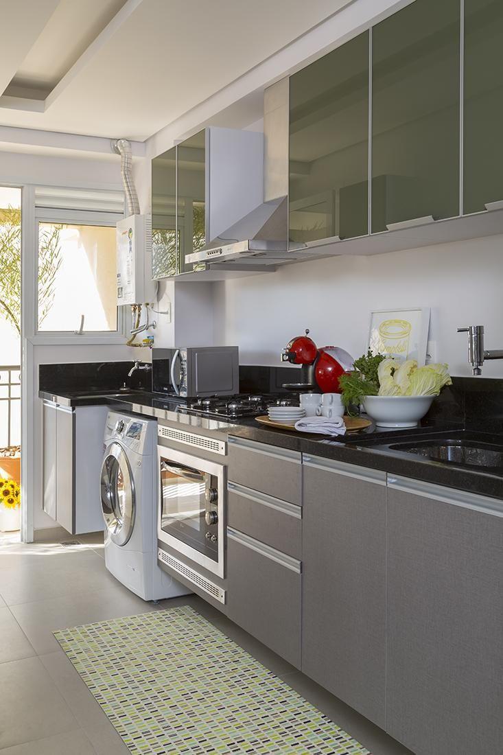 Cozinha Planejada Cinza De Ah Sim 102853 No Viva Decora ~ Cozinha Cinza Com Vermelho