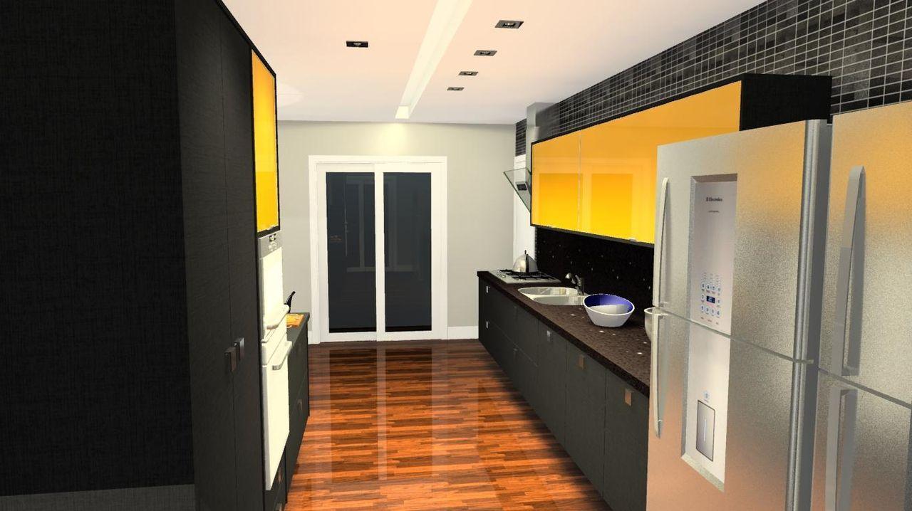 Aparador Aliança ~ Cozinha Planejada com armário Preto e Amarelo de Léo Balicas 45911 no Viva Decora