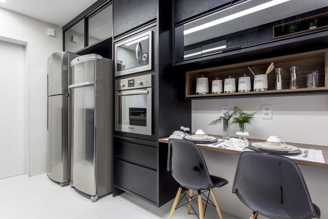 Artesanato Feito De Origami ~ Cozinhas Planejadas Pretas Cozinha Americana Branca E Preta Cozinha Branca E Planejada