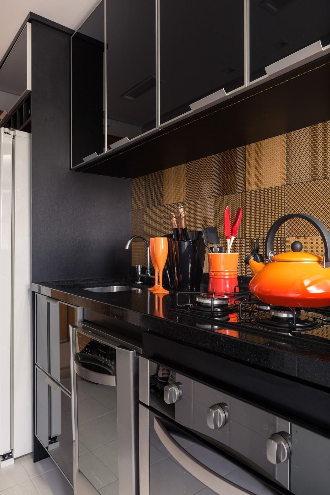 Cozinha Planejada Com Arm Rios Preto De Braccini Lima  ~ Armário De Cozinha Planejados