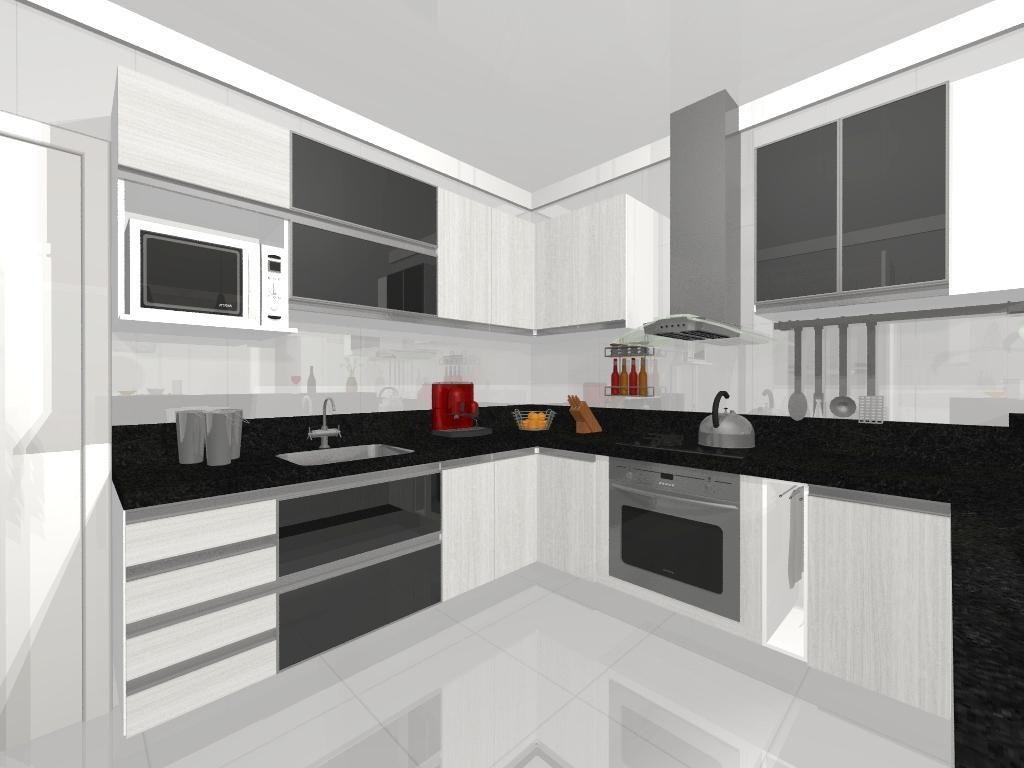 Cozinha Planejada Americana Preta E Branca Oppenau Info