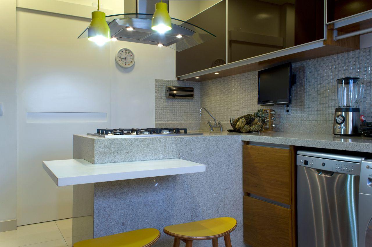 Cozinha Cinza E Amarela Com Balc O Em L De Sem Ramis Alice