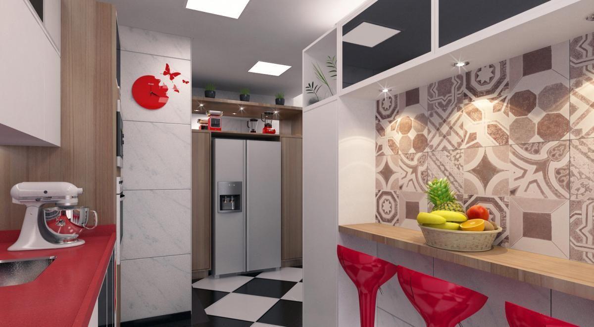 Cozinha Americana Planejada Vermelha Oppenau Info