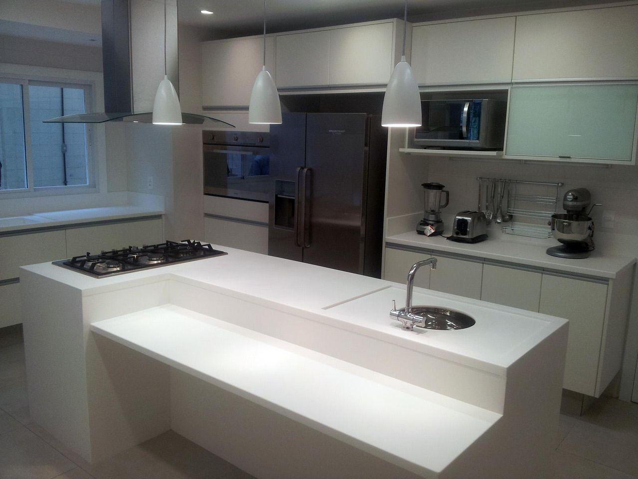 Cozinha Com Ilha Branca De Sergio Carvalho Ramos 47034 No Viva Decora