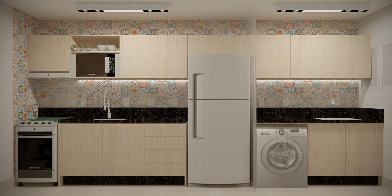 Cozinha E Lavanderia Com Azulejos Decorativos De Sck Arquitetos