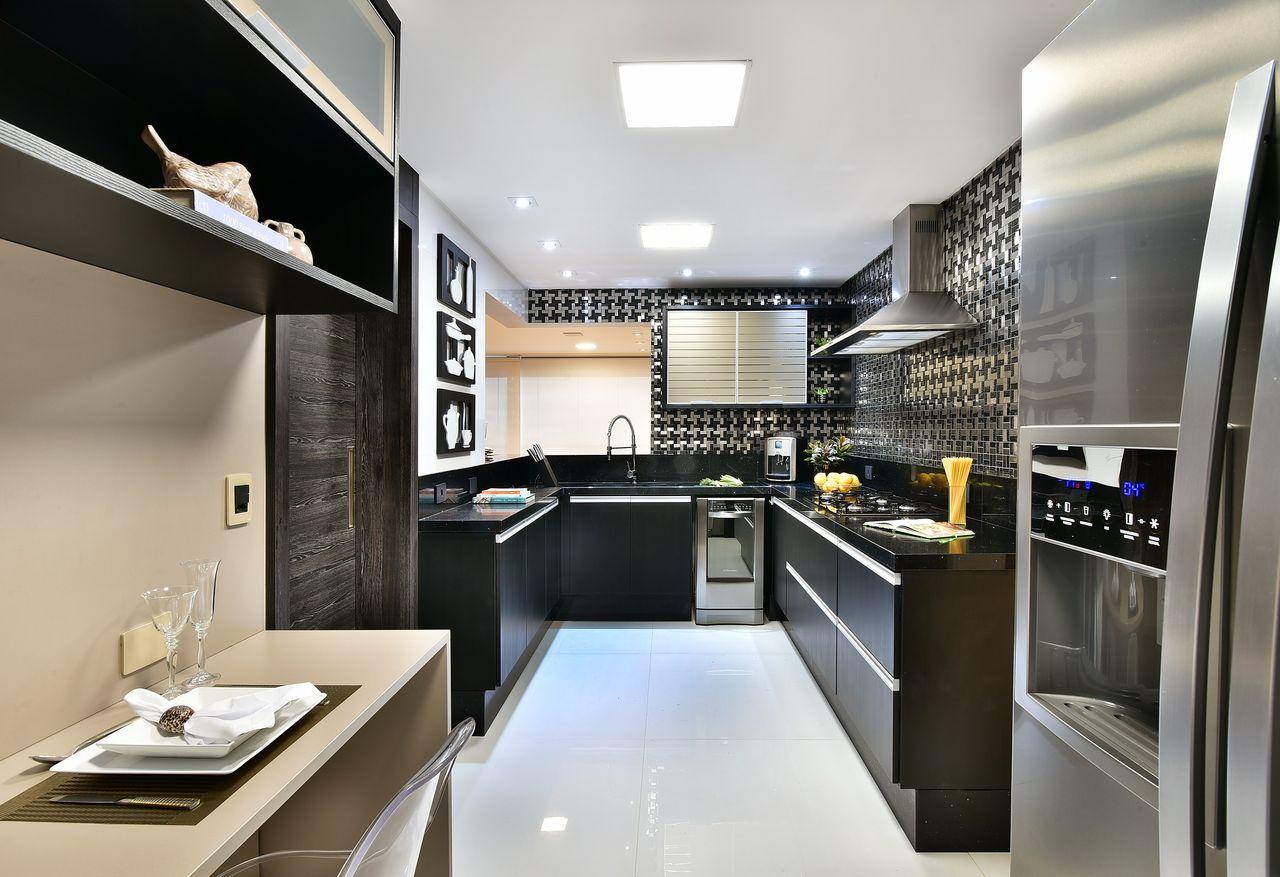 Cozinha Em Tons De Cinza Com Copa Bege De Tetriz Arquitetura E