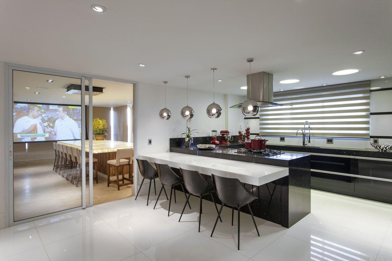 Cozinha Clean Integrada Com Rea De Lazer De Iara Kilaris 131975