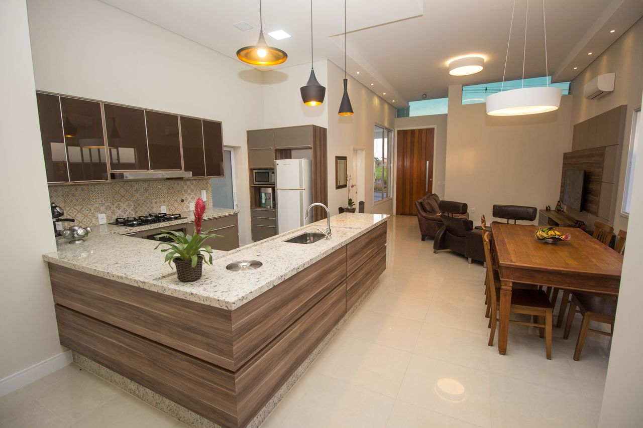 Cozinha Integrada Com Sala De Jantar E Estar De Sa Engenharia E  -> Sala E Cozinha Integrada Como Decorar