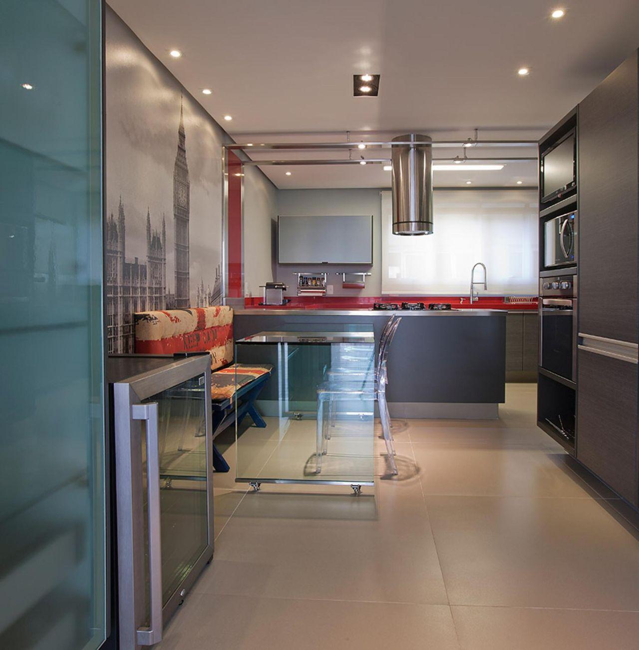 Cozinha Mesa De Vidro Papel De Parede Desenhado De Leila Libardi