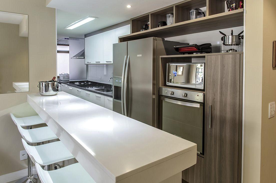 Cozinha Americana Com Balc O Laqueado Branco De Favorita Movdecor