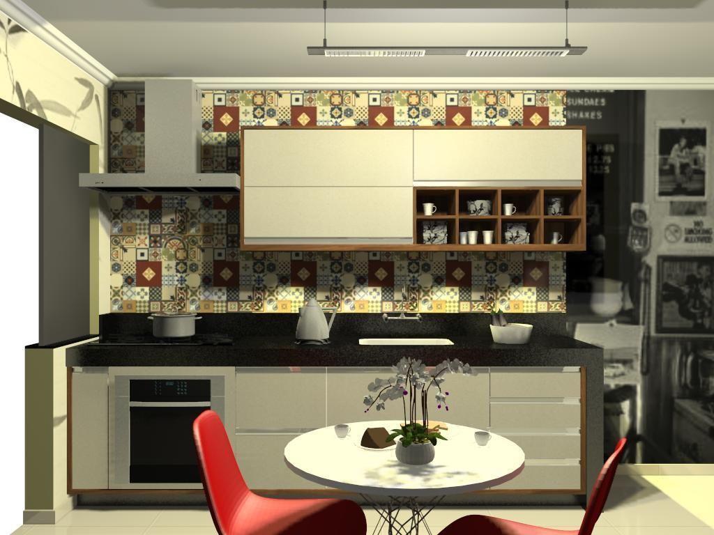 Cozinha Pequena Com Revestimento Colorido De L O Balicas 46100 No