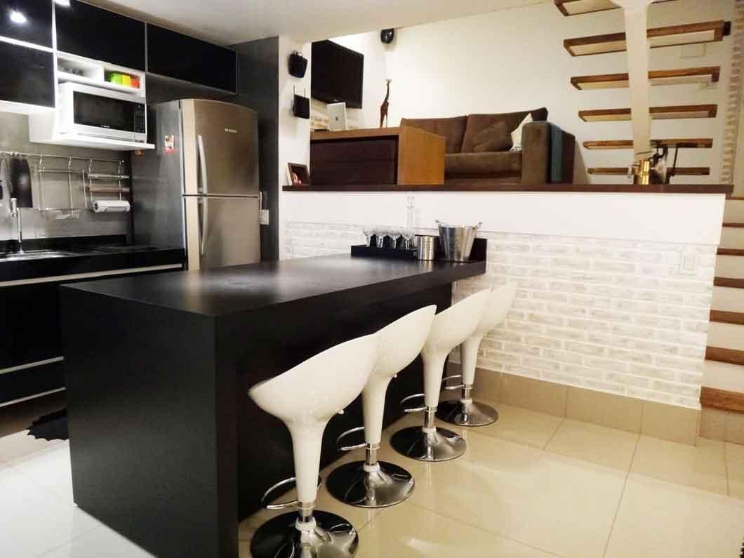 Meia Parede Revestida Com Pedra De Vinicius Santini 44053 No Viva  -> Meia Parede Entre Sala E Cozinha