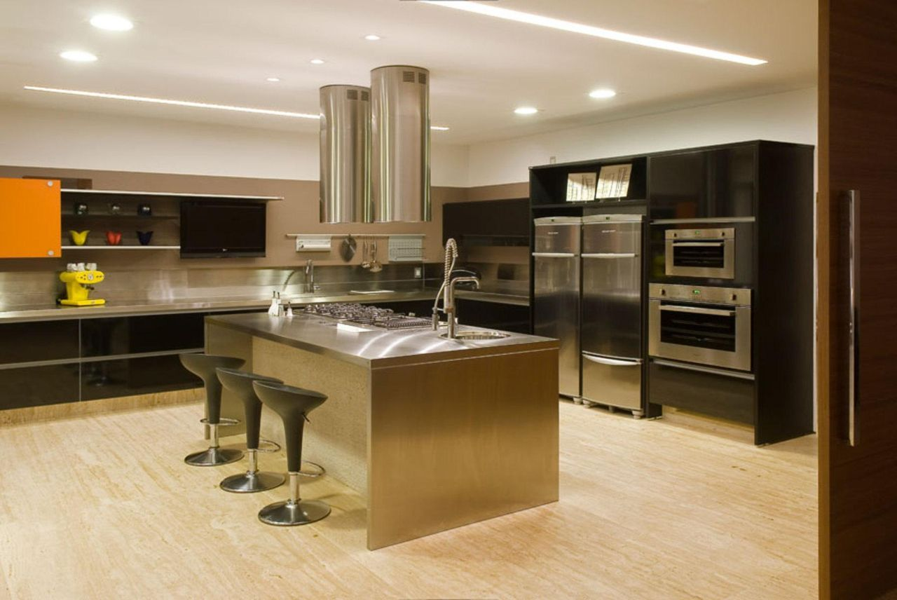 Cozinha Com Ilha Central Moderna Projetos De Cozinhas Modernas Com