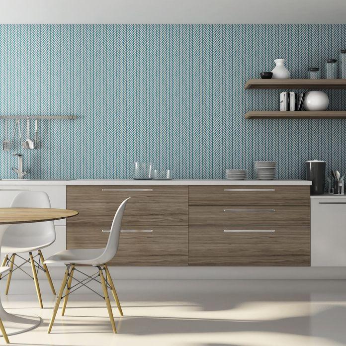 Armario de parede de madeira para quarto : Parede cinza e arm?rio branco com madeira de portobello