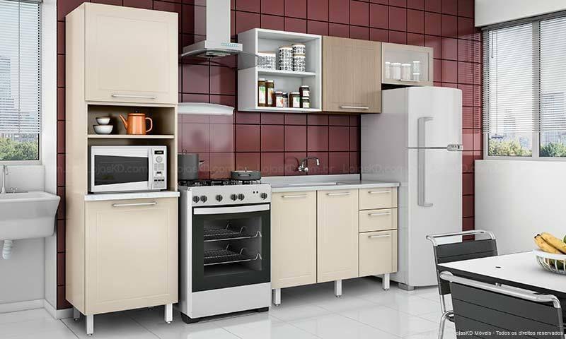 Cozinha Bordô Com Móveis Creme De Lojaskd 139249 No Viva Decora