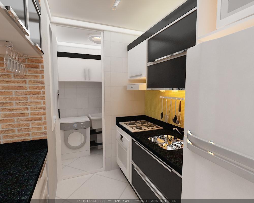 Cozinha Integrada Com A Lavanderia De Online Projetos 78748 No