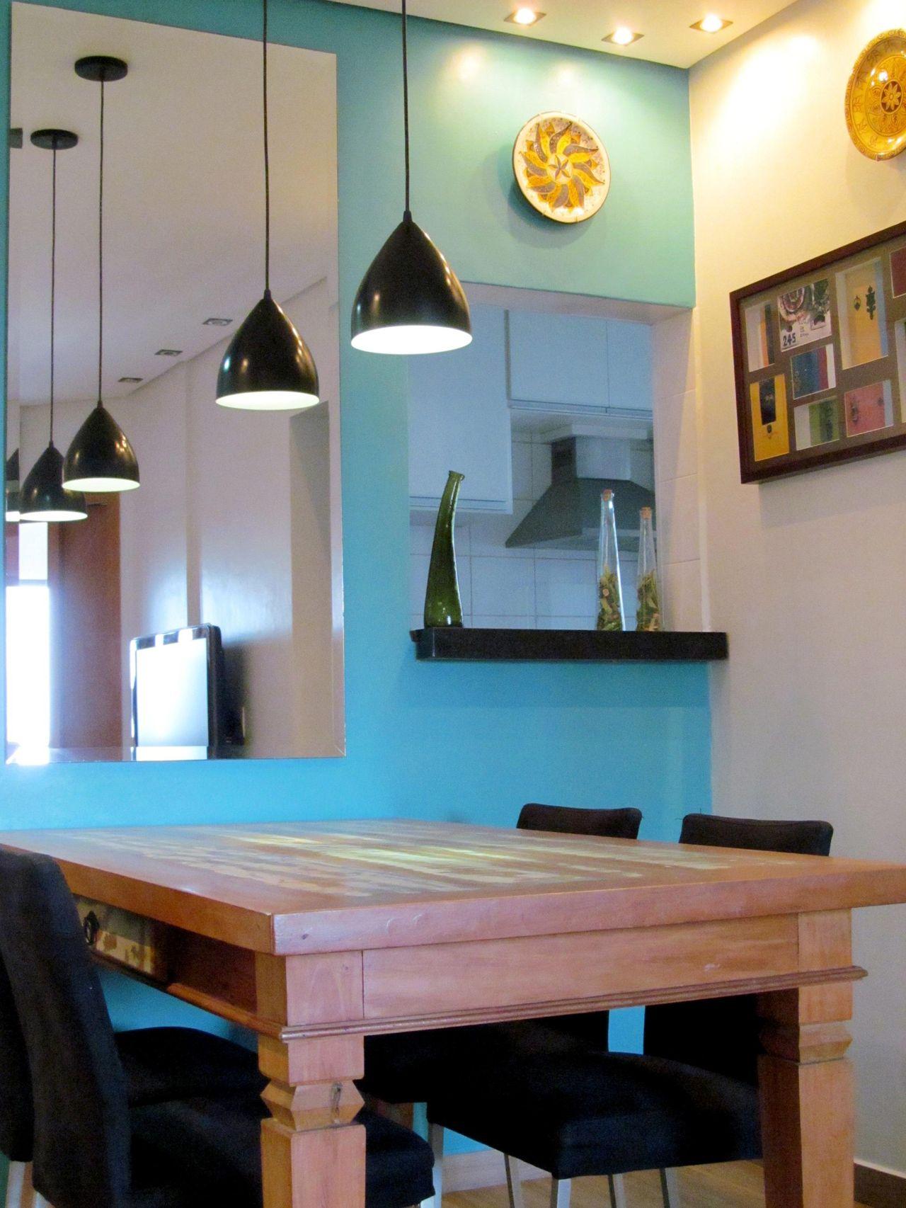 Parede Azul Turquesa E Pendentes De Ionara Oliveira 42986 No  ~ Escritorio No Quarto De Casal E Quarto Casal Azul Tiffany