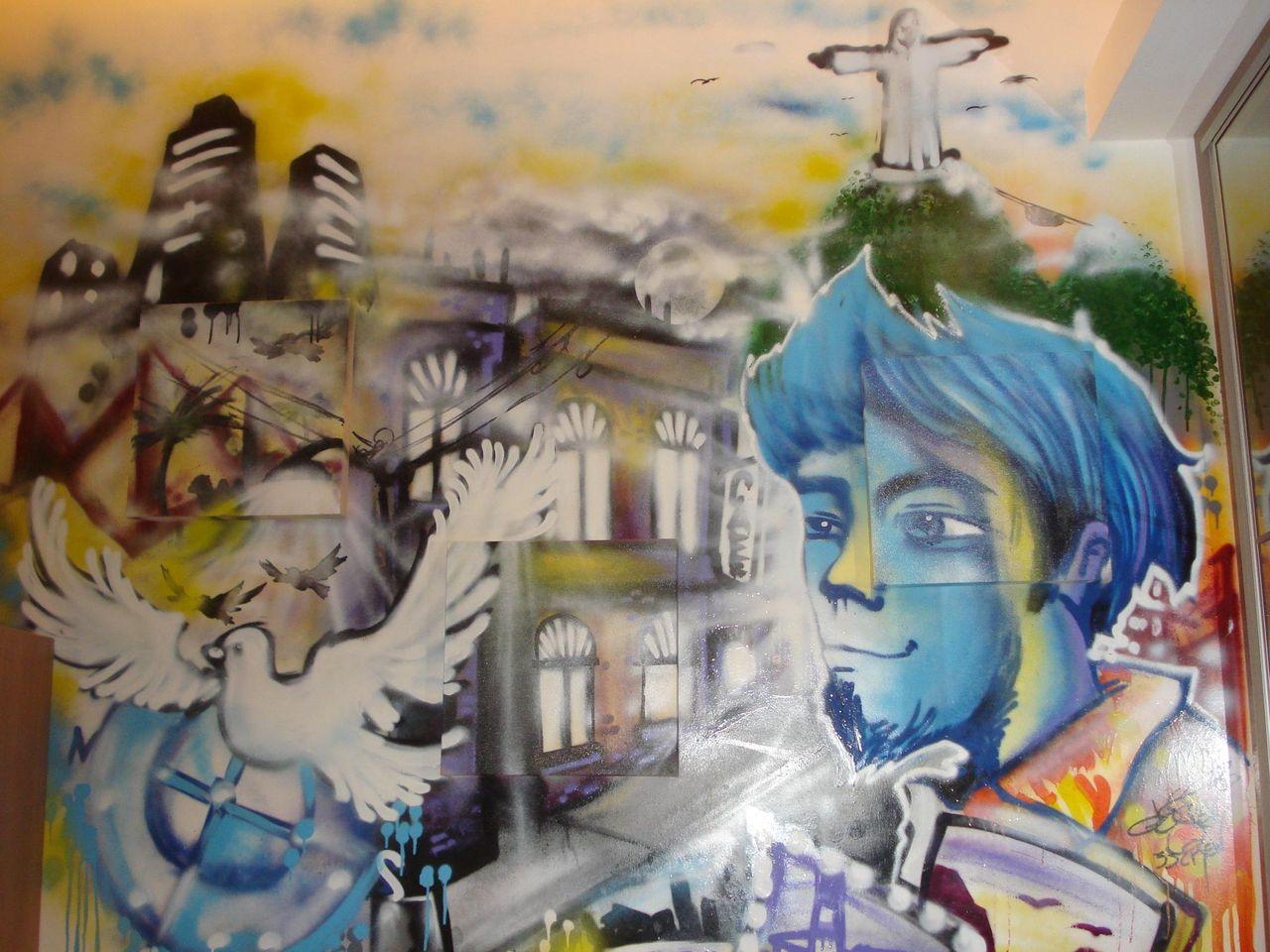 Parede Com Grafite Moderno De Nalderine Basilio 52334 No Viva Decora ~ Grafite Parede Quarto Com Quarto Moderno Solteiro