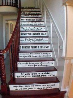 Decoração De Escada Com Frases De Alice No País Da De