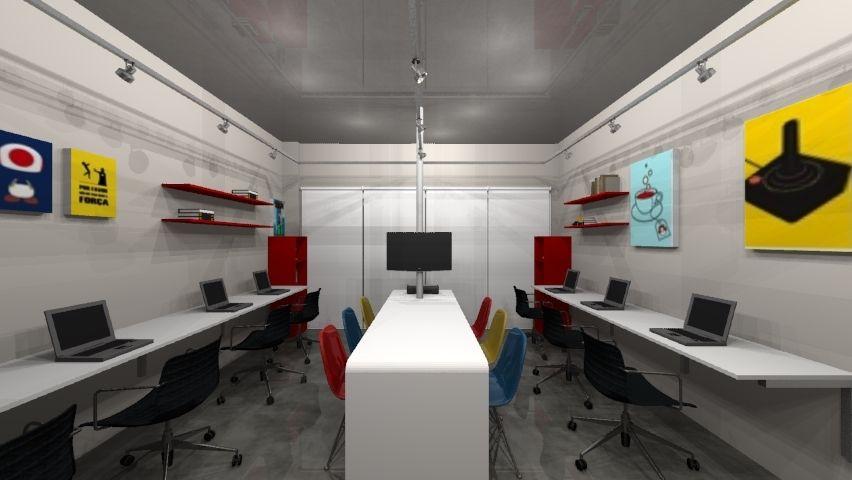 decorao escritrio agencia marketing estilo industrial e posters geek