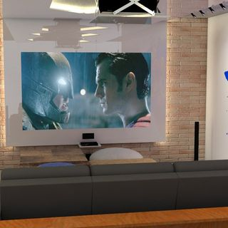 Home Theater Com Parede De Tijolos E Grafitti