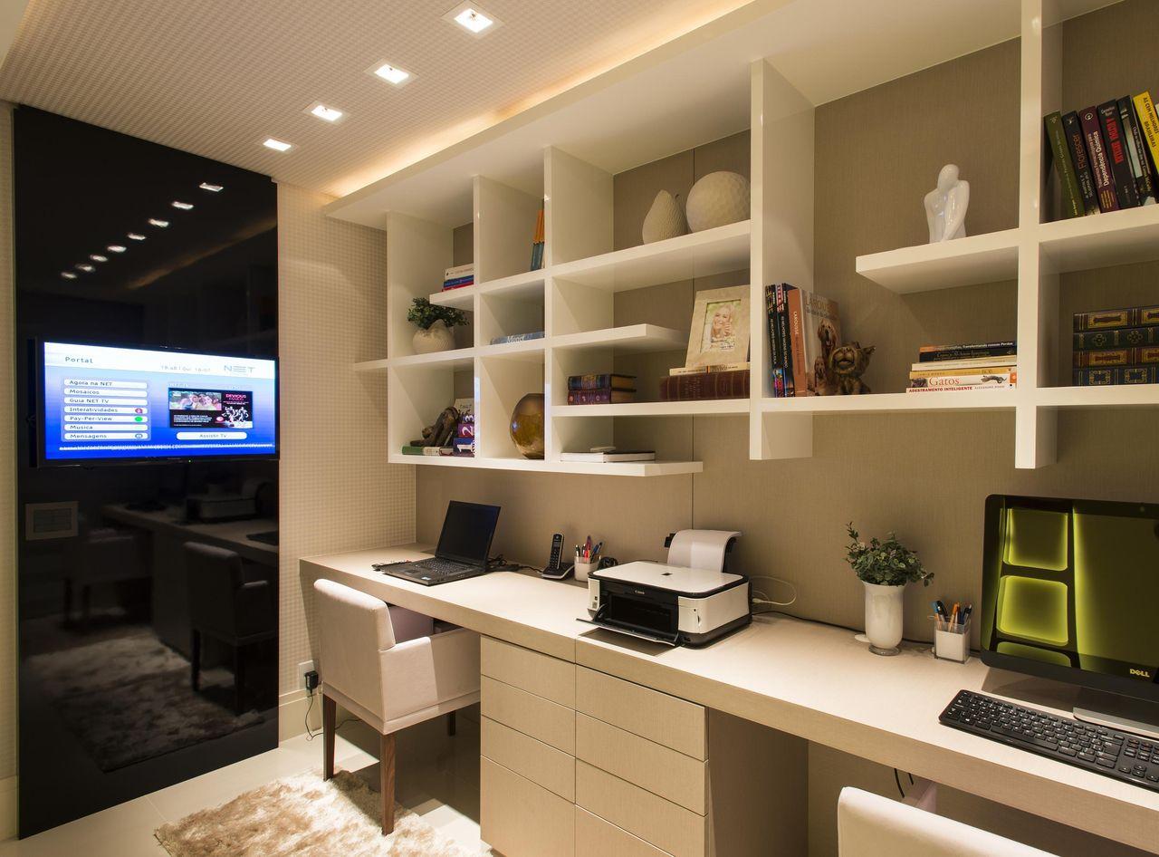 Home Office Com Estante Planejada De Anna Maya Anderson  ~ Home Office Planejado Quarto E Quadro De Quarto De Bebe