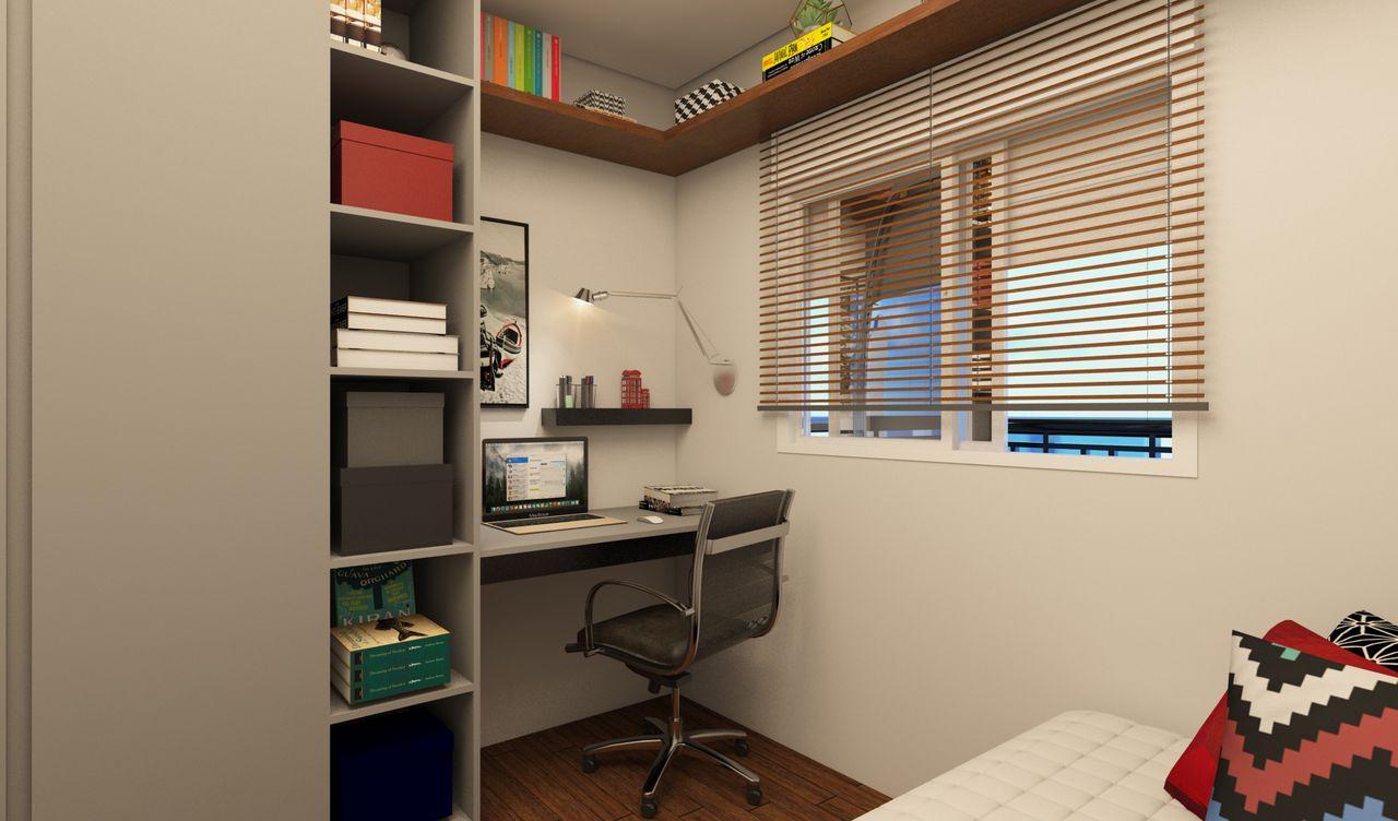 Home Office E Quarto De Visitas Cinza De Nat Lia Salla 145860 No  ~ Home Office Planejado Quarto E Quadro De Quarto De Bebe
