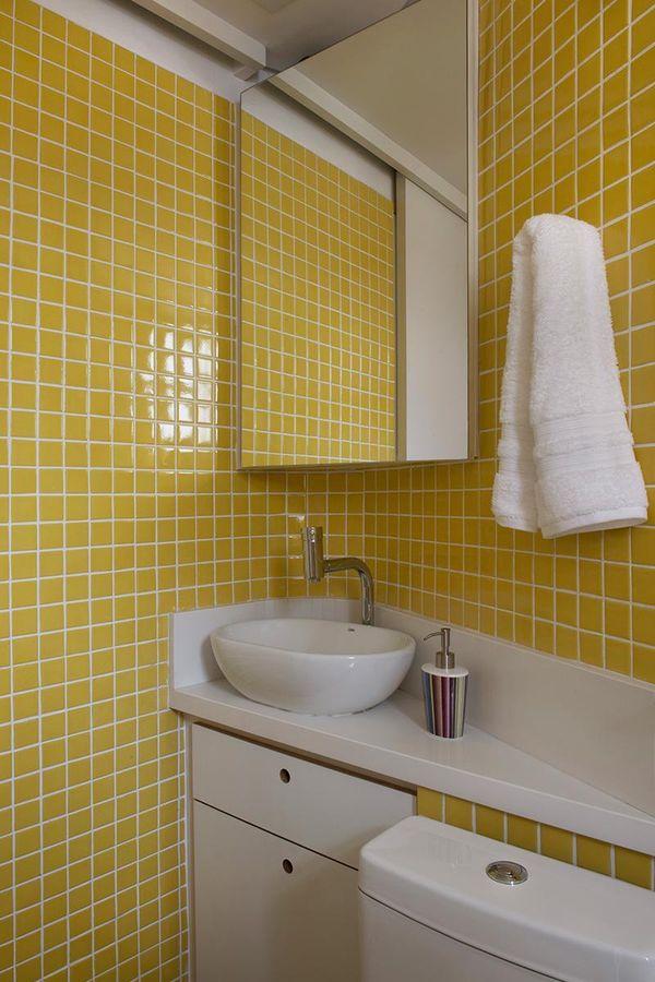 cores de parede na decoração banheiro amarelo - cores de tintas