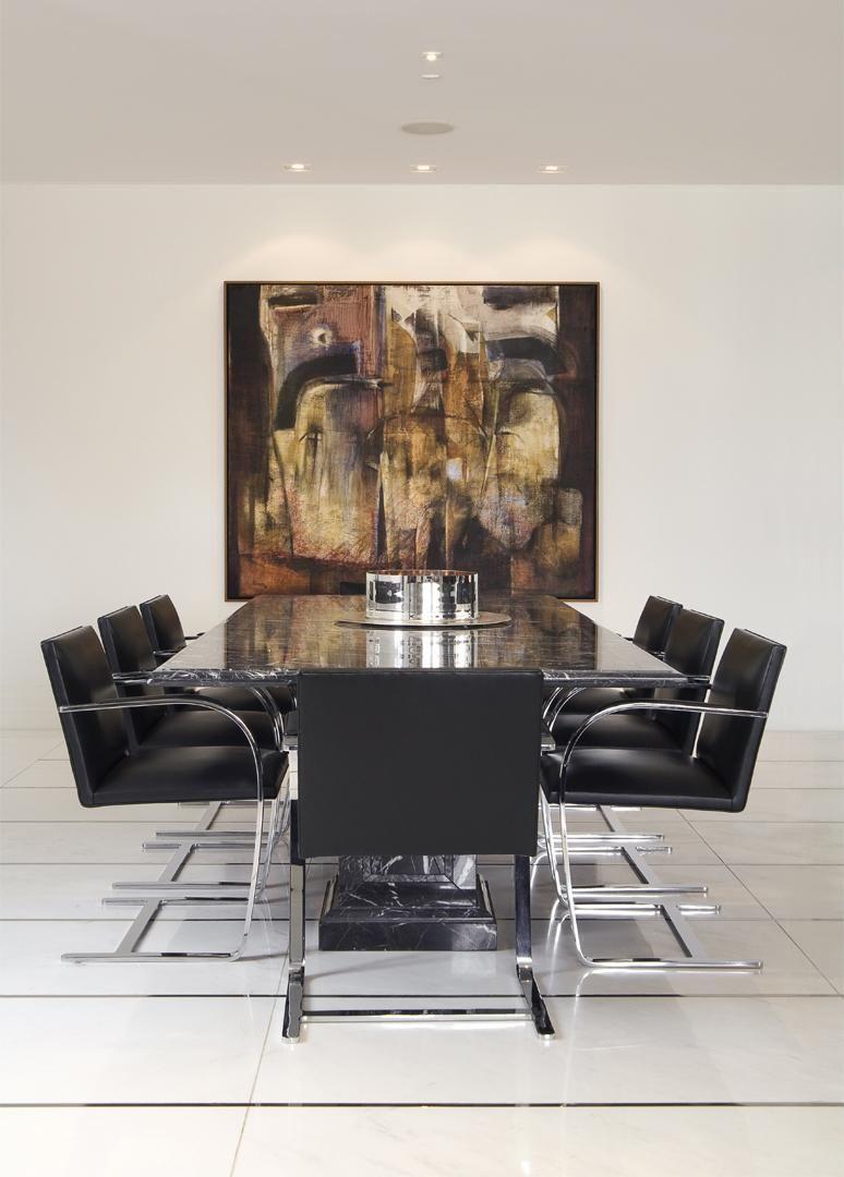 Quadro Abstrato Na Sala De Jantar De Jayme Bernardo Arquitetura E  -> Quadro Abstrato Sala De Jantar