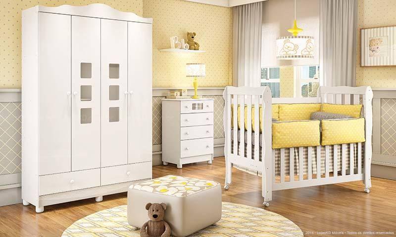 Top Quarto de Bebê Amarelo e Cinza com Móveis Brancos de LojasKD  NF42