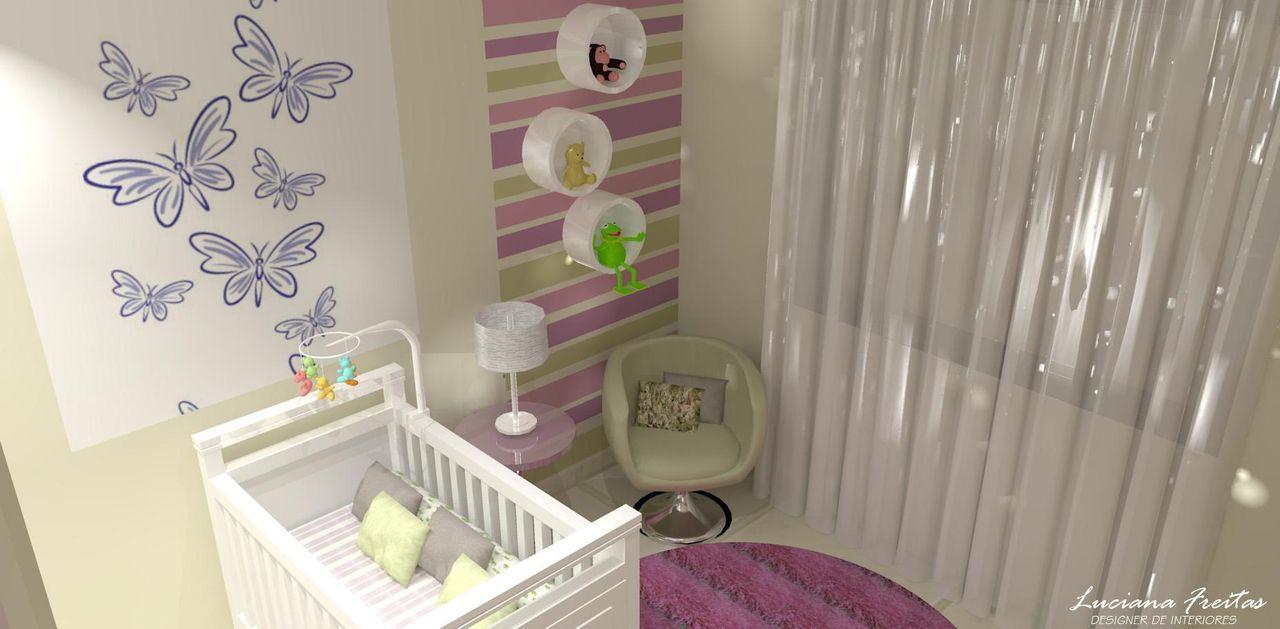 Quarto De Beb Com Papel De Parede Borboleta De Luciana Freitas