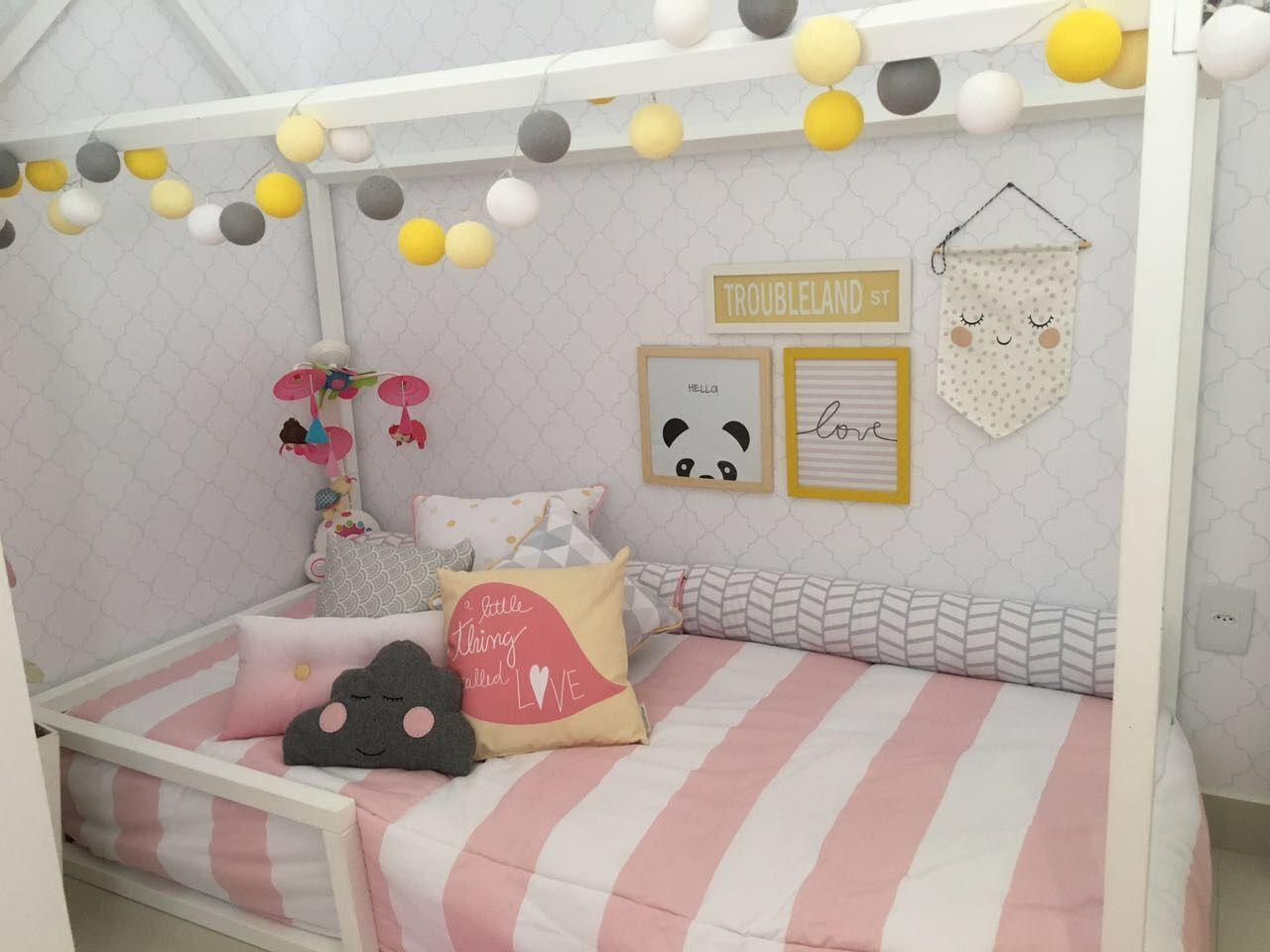 Quarto De Beb Montessoriano Rosa Branco E Cinza De Arqexpress  ~ Decoração De Quarto De Menina Bebê