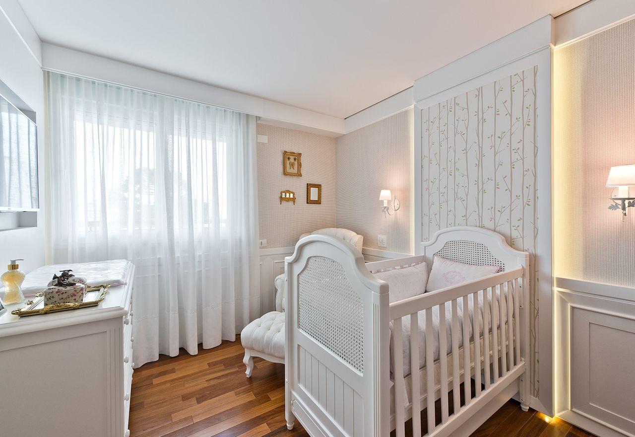 Quarto Beb Cl Ssico Branco Com Painel Iluminado De Leonardo  ~ Biblioteca No Quarto E Quarto De Bebê Moderno
