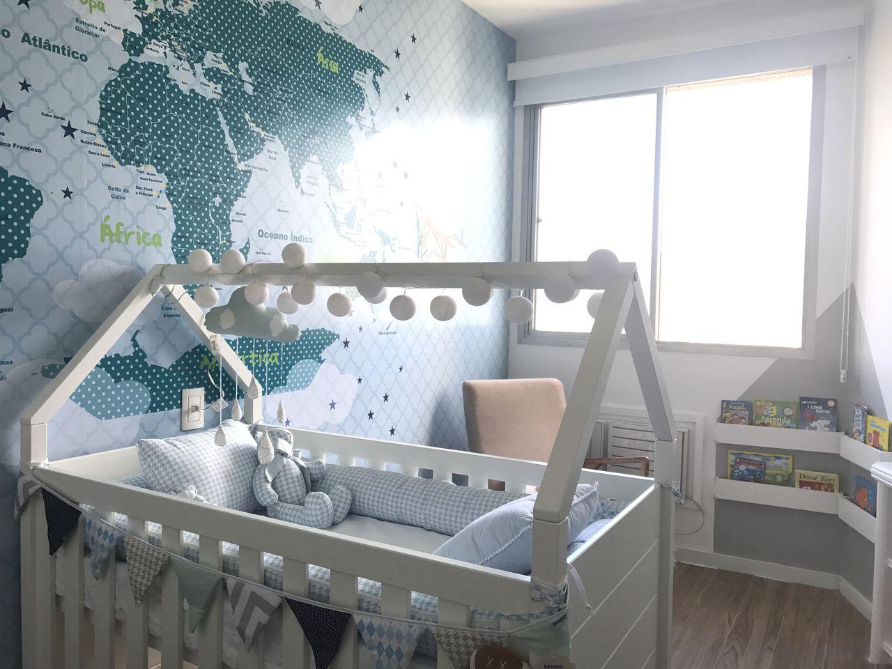 Quarto Beb Com Mapa Mundi Azul E Ber O Branco De Arqexpress  ~ Papel De Parede Mapa Mundi Quarto