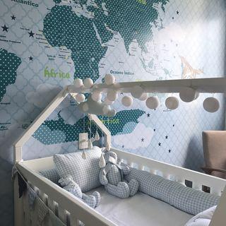 Quarto Bebe Com Papel De Parede Mapa Mundi Azul De Arqexpress