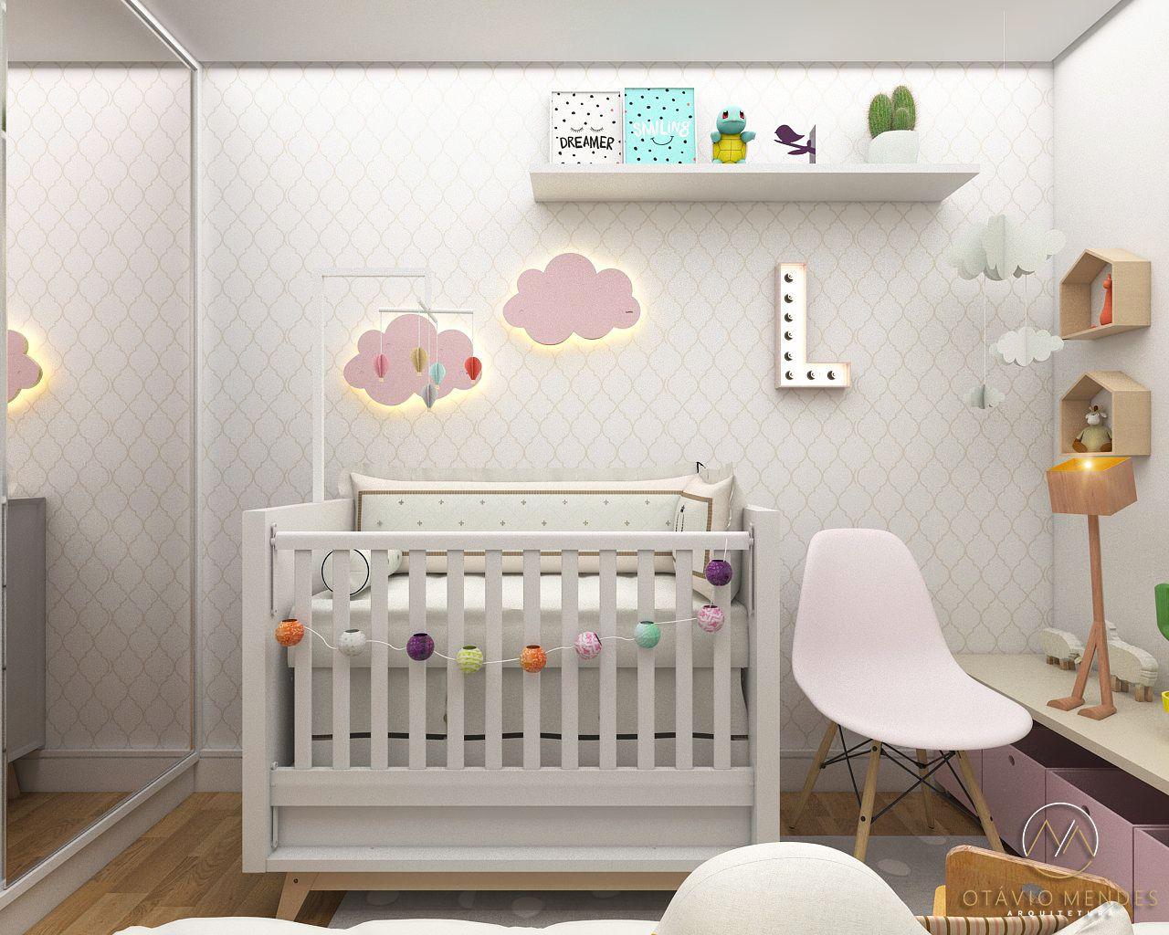 Quarto Infantil Com Cadeira Branca De Ot Vio Mendes 129730 No  ~ Poltrona Para Quarto Infantil E Decoração Simples Quarto