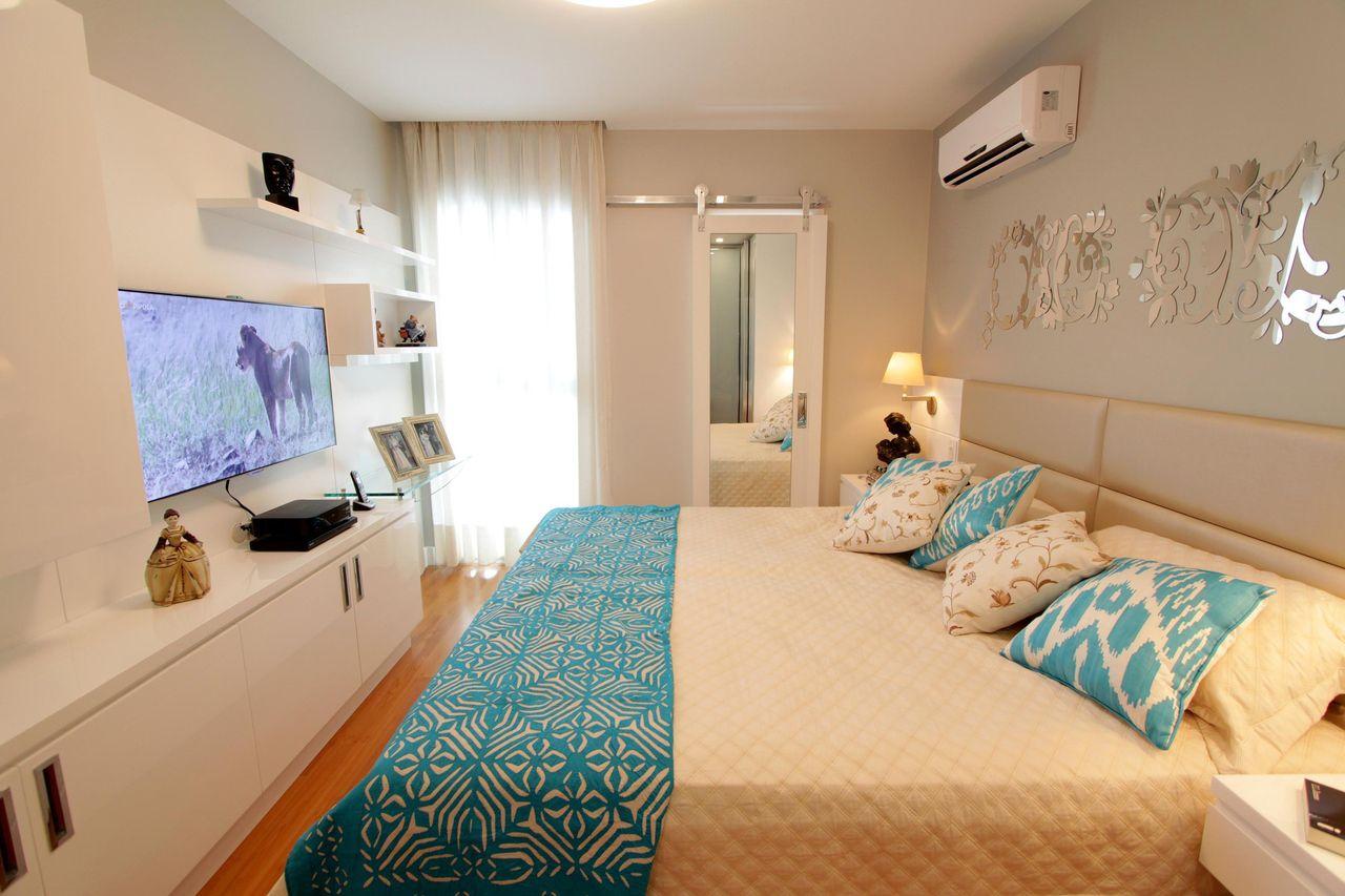 Quarto De Casal Branco Com Azul De Lorrayne Zucolotto 49621 No  ~ Decoração De Quarto Casal Simples