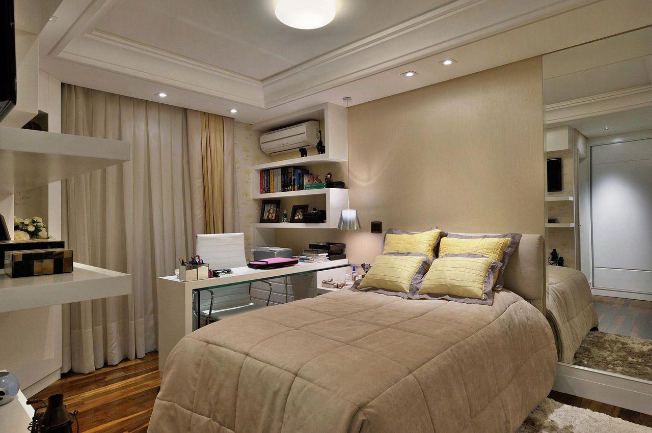 Quarto De Casal Com Teto De Gesso Baixo De Bender Arquitetura  ~ Luminaria Quarto Teto E Quarto Moderno De Casal