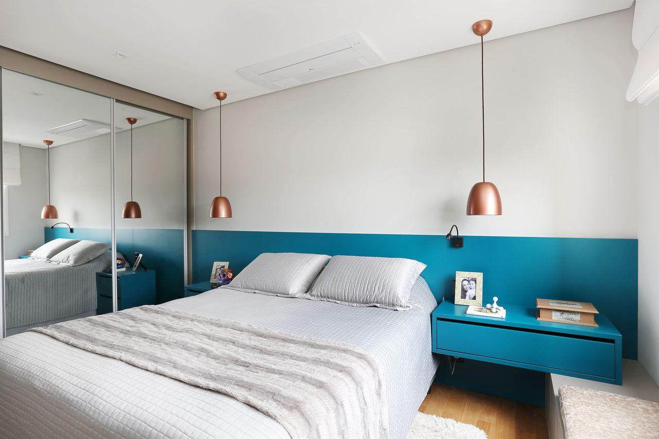Guarda Roupa Espelhado E Cabeceira Azul Tiffany De Esther  ~ Escritorio No Quarto De Casal E Quarto Casal Azul Tiffany