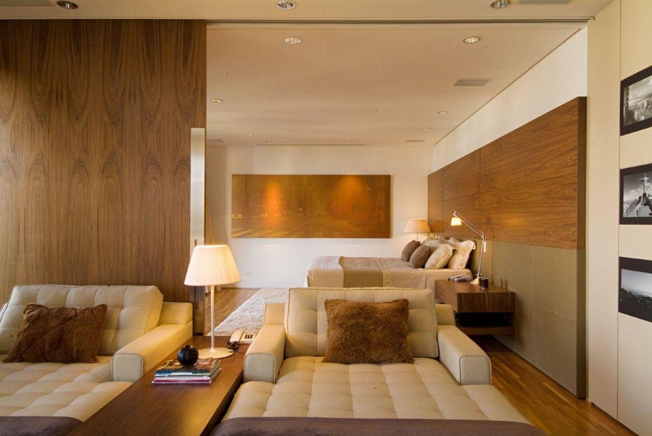 Quarto De Casal Integrado Com A Sala De Televis O De A1  ~ Quarto Integrado Com Banheiro E Modelo De Quarto De Casal