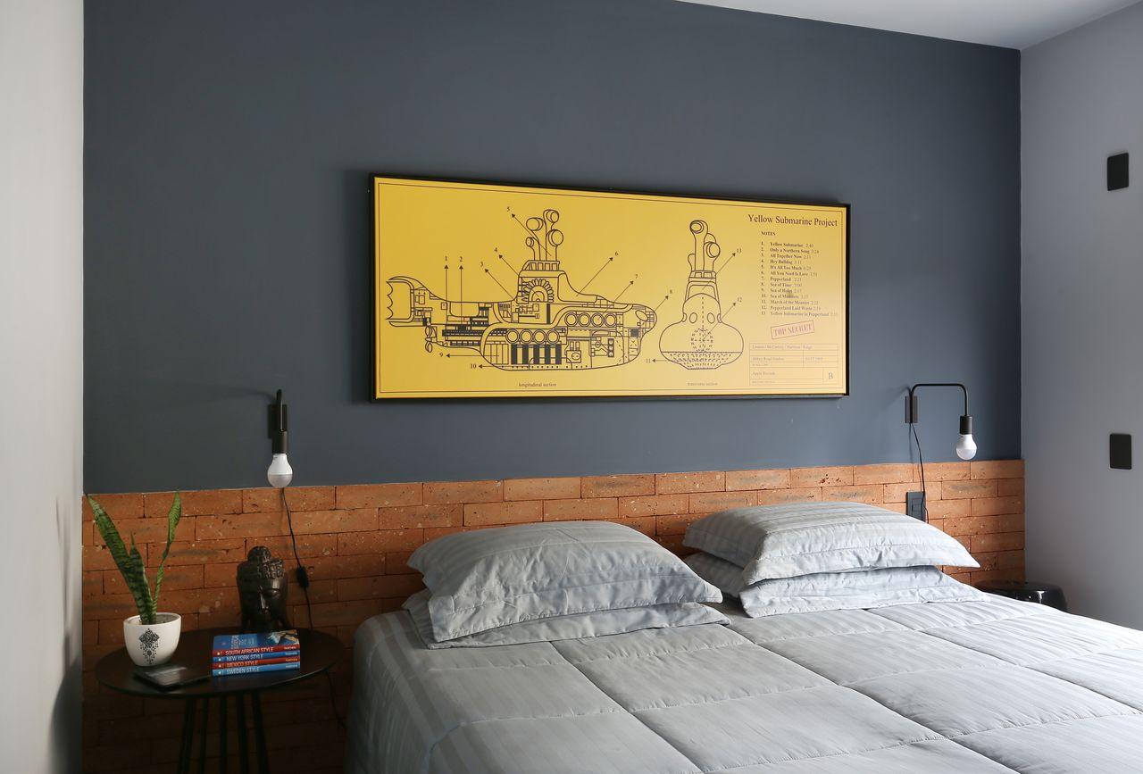 Resultado de imagem para quarto de casal Amarelo, cinza, marrom e branco